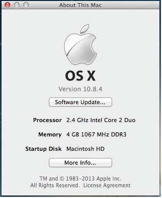 OS X system information screenshot